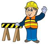Cartoon construction worker — Stock Vector