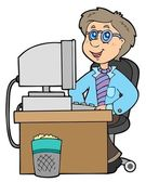 Cartoon office worker — Stock Vector