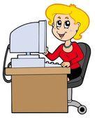 Cartoon secretary — Stock Vector