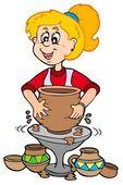 Cartoon pottery girl — Stock Vector