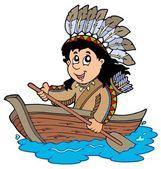 Indian in wooden boat — Stock Vector