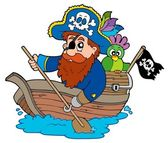 Pirate with parrot paddling in boat — Stock Vector