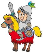 Cartoon knight sitting on horse — Stock Vector