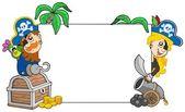 Cartoon pirates holding blank board — Stock Vector