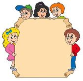 Parchment with various lurking kids — Stock Vector