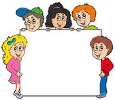 Různé děti drží desky — Stock vektor