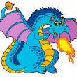 Big blue fire dragon - Stock Vector