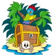 Pirate island with treasure chest — Stock Vector #3208584