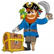 Stock Vector: Pirate with old treasure chest