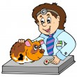 Vector de stock : Small rodent at veterinarian