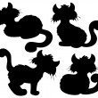 Cartoon cat silhouette collection — Stock Vector