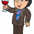 Stock Vector: Cartoon wine drinker