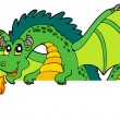 Giant green lurking dragon - Stock Vector