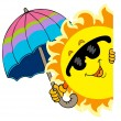 Lurking Sun with umbrella — Stock Vector