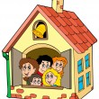 School building with kids - Stock Vector