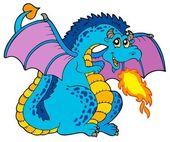 Dragón de fuego azul grande — Vector de stock