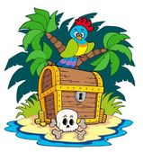 Pirate island with treasure chest — Stock Vector