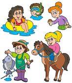 Summer kids activities collection — Stock Vector