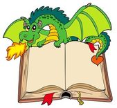 Green dragon holding old book — Stock Vector
