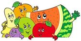Lurking cartoon fruits — Stockvector