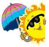 Lurking Sun with umbrella — Stock Vector