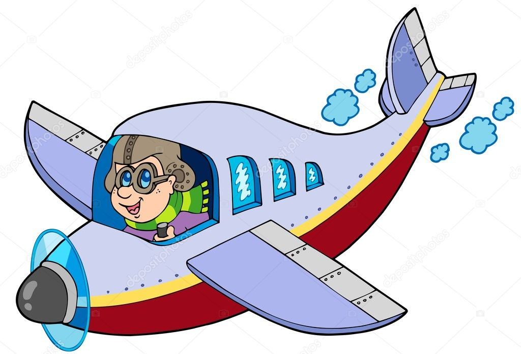 Cartoon aviator on white background - vector illustration. — Stock Vector #3208573
