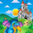 Big blue dragon with medieval castle — Stock Photo
