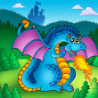 Big blue fire dragon with old castle — Stock Photo