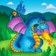 Stock Photo: Big blue fire dragon with old castle