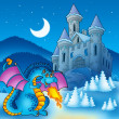 Big blue dragon with winter castle — Stock Photo
