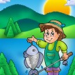 Stock Photo: Small fisherman with fish