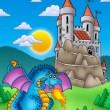 Blue dragon with castle on hill — Stock Photo