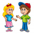 Cartoon happy girl and boy - Stock Photo