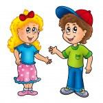 Cartoon happy girl and boy — Stock Photo