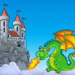 Stock Photo: Green dragon with castle on hill