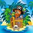 Small island with pirate and chest — Stock Photo