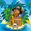 Stock Photo: Small island with pirate and chest