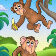 Two cartoon monkeys - Stock Photo