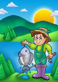 Small fisherman with fish — Stock Photo