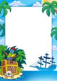 Pirate frame with treasure island — Stock Photo