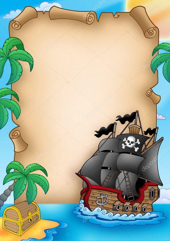 Pergamena con nave dei pirati — foto stock clairev