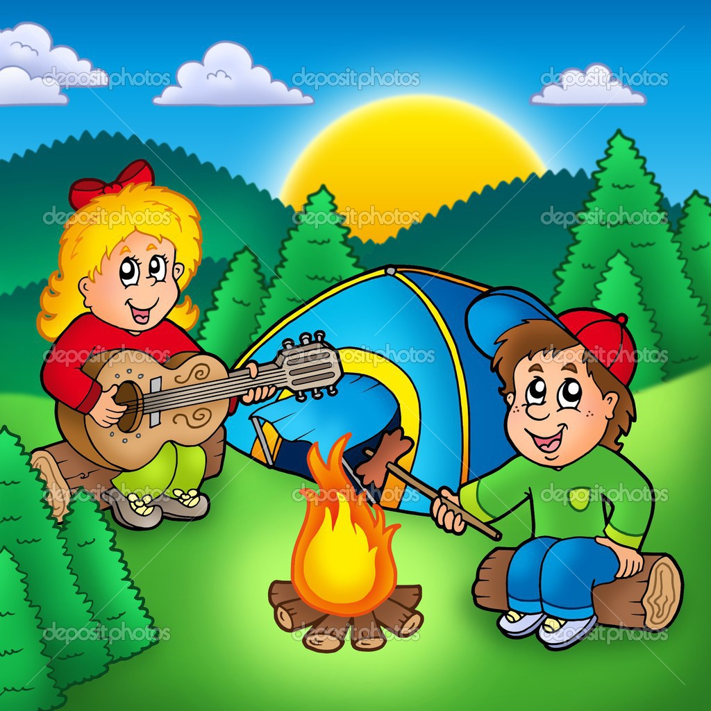 Two camping kids - color illustration. — Stock Photo #3224768