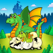 Dragon mom with baby in forest - Stock Photo