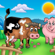 Cartoon cow and pig behind fence — Stock Photo