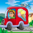 Ice cream man driving red car — Stock Photo
