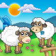 Two cute sheep behind fence — Stock Photo