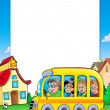 Stock Photo: School frame with bus and kids