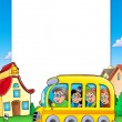 School frame with bus and kids - Stock Photo