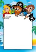 Frame with three cartoon pirates — Stock Photo