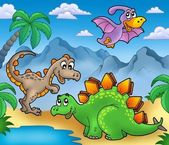 Landscape with dinosaurs 2 — Stock Photo